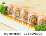 grilled salmon sushi roll  ... | Shutterstock . vector #1164698002
