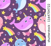 cute cartoon narwhal seamless... | Shutterstock .eps vector #1164704722
