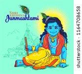happy janmashtami. cute little...   Shutterstock .eps vector #1164708658