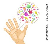 dirty human hand. bacteria on a ... | Shutterstock .eps vector #1164709525