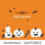 happy halloween. white pumpkins ... | Shutterstock .eps vector #1164725812