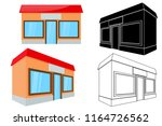 shop building. front and side... | Shutterstock .eps vector #1164726562