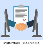 signing of a contract online.... | Shutterstock . vector #1164734215