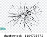 broken glass  cracks  bullet... | Shutterstock .eps vector #1164739972