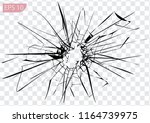 broken glass  cracks  bullet... | Shutterstock .eps vector #1164739975