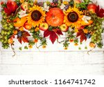 thanksgiving background with... | Shutterstock . vector #1164741742