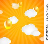 yellow sunburst background with ...   Shutterstock . vector #1164742108
