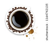 cup with coffee and plate and...   Shutterstock . vector #1164742135
