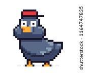 pixel art funny pigeon in red... | Shutterstock .eps vector #1164747835