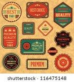 vector set of labels in retro... | Shutterstock .eps vector #116475148