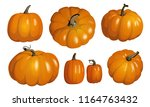 orange pumpkins isolated on... | Shutterstock .eps vector #1164763432