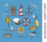 sea vector marine or nautical... | Shutterstock .eps vector #1164771565