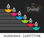 illustration of happy diwali... | Shutterstock .eps vector #1164777148