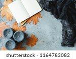 autumn flat lay composition on... | Shutterstock . vector #1164783082