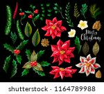 set of christmas decor  such as ... | Shutterstock .eps vector #1164789988
