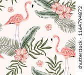 pink flamingo palm leaves ... | Shutterstock .eps vector #1164794872