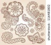 henna paisley flowers mehndi... | Shutterstock .eps vector #116481802