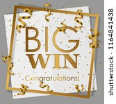 gold big win in gold frame with ... | Shutterstock .eps vector #1164841438
