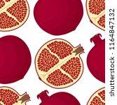 vector red fruit   pomegranate. ... | Shutterstock .eps vector #1164847132