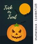 vector halloween card for... | Shutterstock .eps vector #1164847135