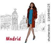 woman walking in madrid  spain. ... | Shutterstock . vector #1164848125