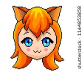 pixel anime girl with cat ears... | Shutterstock .eps vector #1164853858