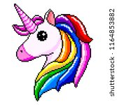 pixel unicorn head with pink... | Shutterstock .eps vector #1164853882