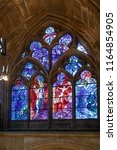Small photo of METZ, FRANCE - AUG 26, 2018: stained glass window of the Saint Etienne cathedra drawn by Marc Chagall.