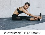 woman doing stretching... | Shutterstock . vector #1164855082