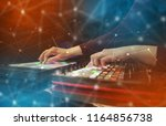 hand remixing music on midi... | Shutterstock . vector #1164856738
