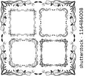 floral border square   set of... | Shutterstock .eps vector #116486008