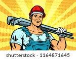 plumber worker with adjustable... | Shutterstock .eps vector #1164871645