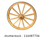 Antique Cart Wheel Made Of Woo...