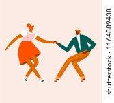 dancing  rock n roll cartoon... | Shutterstock .eps vector #1164889438