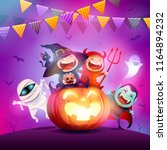 halloween celebration fun party.... | Shutterstock .eps vector #1164894232