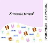 summer travel suitcase swimsuit ... | Shutterstock .eps vector #1164904882