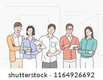 company colleagues stand with... | Shutterstock .eps vector #1164926692