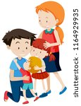 parent and children on white... | Shutterstock .eps vector #1164929935