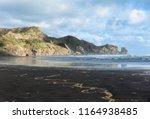 black sand on the bathels beach ... | Shutterstock . vector #1164938485