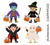 set of happy halloween. funny... | Shutterstock .eps vector #1164949102