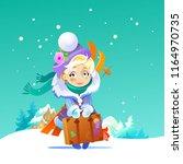 little blond girl in a coat ... | Shutterstock .eps vector #1164970735