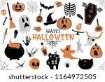 happy halloween stickers  icons ... | Shutterstock .eps vector #1164972505