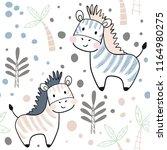 zebra baby seamless pattern.... | Shutterstock .eps vector #1164980275