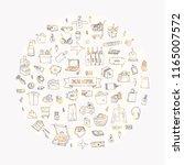 hand drawn doodle set of online ... | Shutterstock .eps vector #1165007572