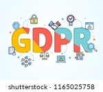 gdpr concept card poster paper... | Shutterstock .eps vector #1165025758