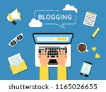 blogging concept picture. hands ... | Shutterstock .eps vector #1165026655