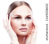 close up beauty face of fashion ... | Shutterstock . vector #1165028632