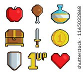 pixel games icons. various... | Shutterstock .eps vector #1165032868