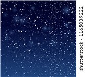 stars and snowfall in night sky.... | Shutterstock .eps vector #1165039222