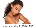 beauiful dark skinned woman... | Shutterstock . vector #1165041955